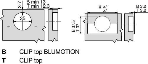 BLUM CLIP TOP +45° I